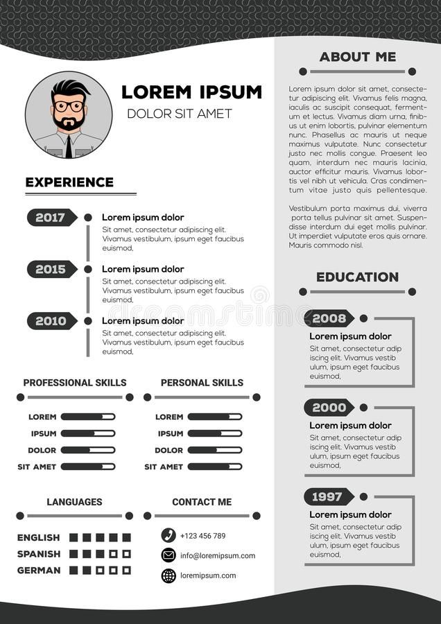 Resume And Cv Template With Nice Design Stock Vector In 2020 Cv Template Resume Template Word Resume Design Template