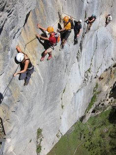 """passage of the """"via ferrata"""" Bocchette Centrali Dolomiti del Brenta Una via ferrata è un insieme di strutture e attrezzature realizzate artificialmente su una parete rocciosa per facilitarne la salita in sicurezza in un percorso escursionistico/alpinistico. Tale azione, senza la presenza e l'utilizzo delle strutture artificiali, necessiterebbe, per la progressione, della conoscenza e dell'impiego di tecniche di arrampicata in cordata con attrezzature individuali alpinistiche o corpo libero."""