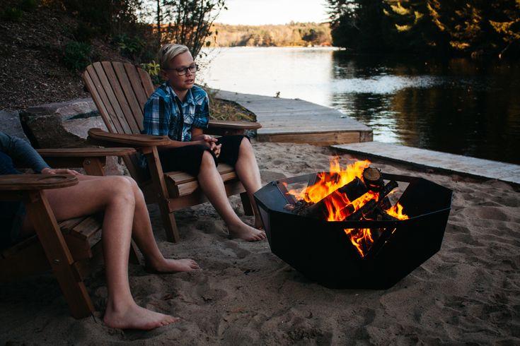 A modern geometric design firebowl, that still brings that warmth and magic of enjoying an outdoor fire.