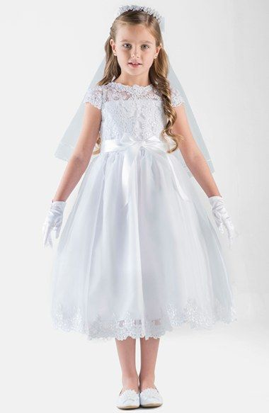 Us+Angels+Cap+Sleeve+Illusion+Lace+Dress+(Big+Girls)+available+at+#Nordstrom