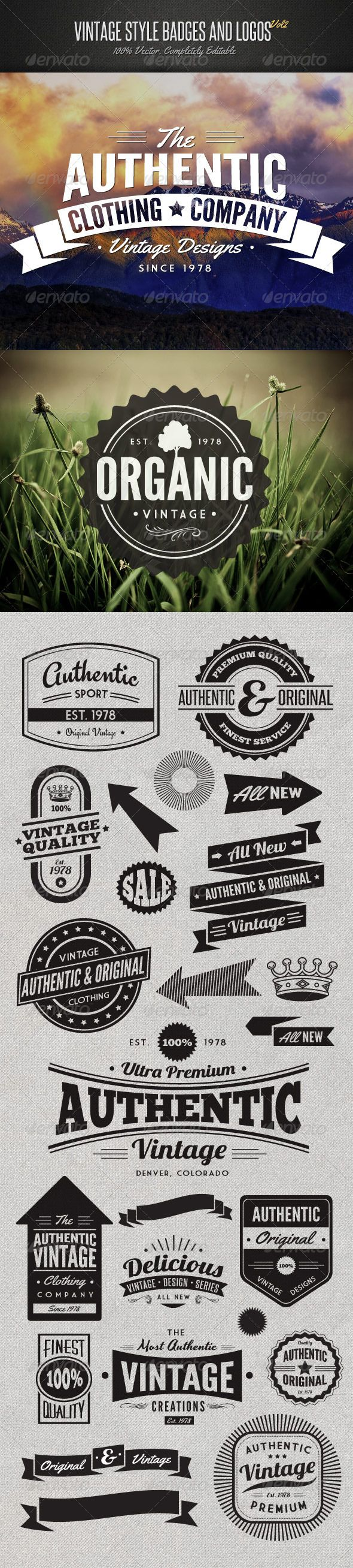 Vintage Style Badges and Logos | corporate branding creative logo personalized identity