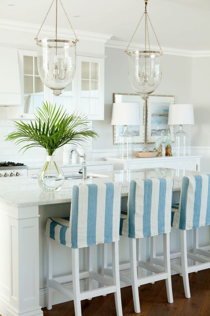 blue and white stripe kitchen chair covers