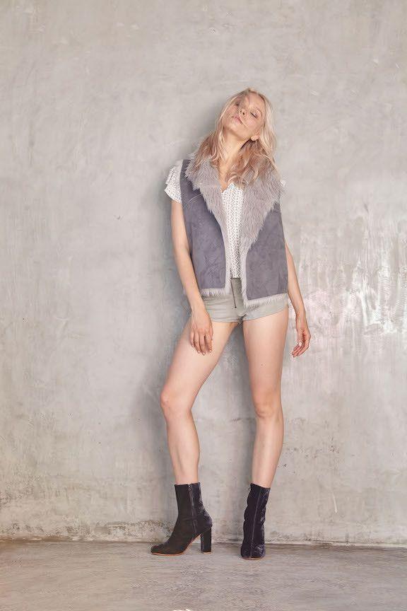 LILYA - Shearling Vest (Grey)