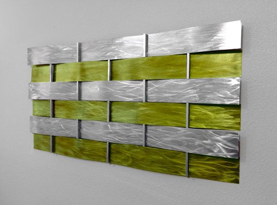 Modern Abstract Metal Wall Art Sculpture Painting - Lime Green