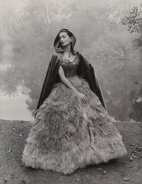 Fashion shoot by Athol Shmith. Looks like the location may be the Melbourne Botanical Gardens.