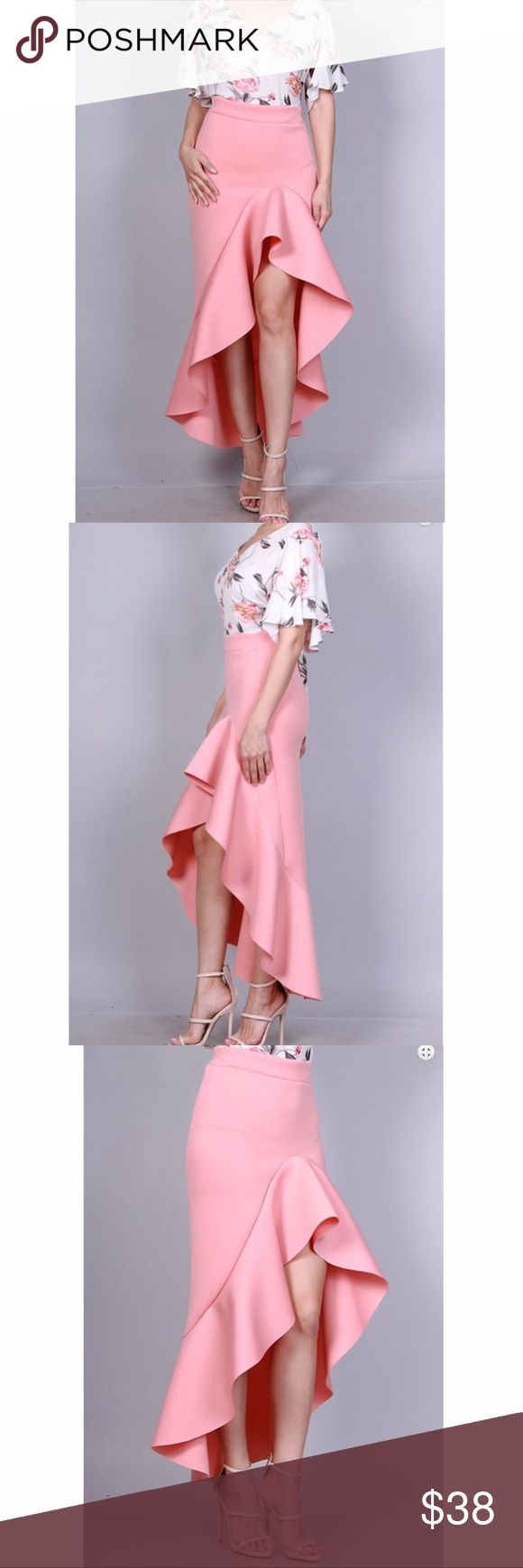 Pink High Waist Hi Lo Ruffle Bodycon Maxi Skirt Sexy Blush Pink High Waist Hi Lo Ruffle Maxi Skirt. Made of soft stretchy thick fabric. Made in USA. Brand New factory direct.  Size S 2/4: Bust 33-34 Waist 25-26 Hips 35-36 Size M 6/8: Bust 35-36 Waist 27-28 Hips 37-38 Size L 10/12: Bust 37-38 Waist 29-30 Hips 39-40  Size chart provided as a guidance. Skirts High Low