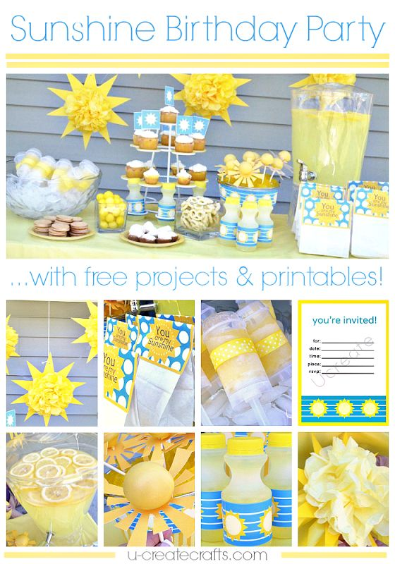 Tons of Sunshine Birthday Party Ideas with free printables