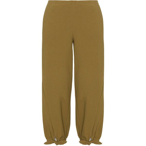 Isolde Roth Khaki-Green Plus Size Cotton linen tie hem trousers ($130) ❤ liked on Polyvore featuring pants, plus size, brown pants, wide leg pants, plus size pants, khaki pants and womens plus size khaki pants