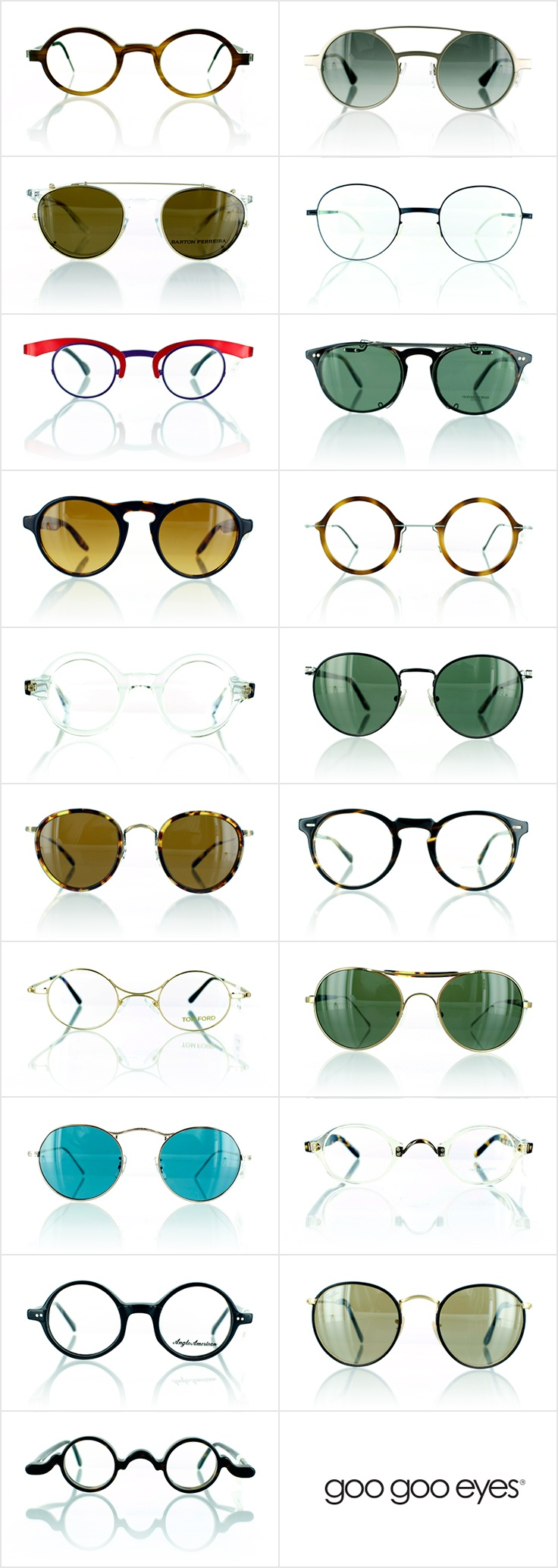 """Check out our awesome designer medley of round glasses and sunglasses, otherwise known as the """"Great 'Glassby' Spectacle Showcase!"""" - Get the look at Goo Goo Eyes."""