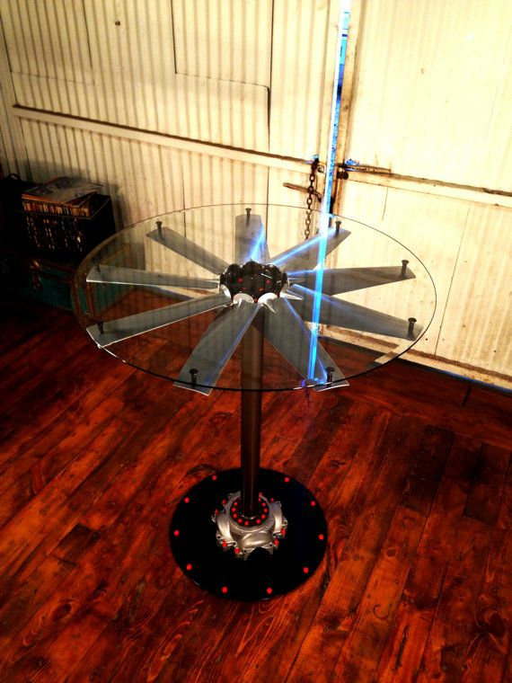 Aircraft style propeller cocktail table industrial for Cocktail tables parts