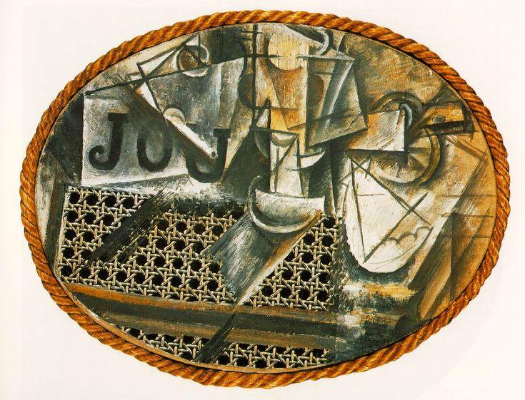Natura morta con sedia impagliata, 1912, collage di pittura a olio, tela cerata, carta e corda su tela, Musée National Picasso, Parigi