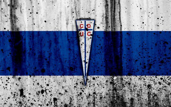 Download wallpapers 4k, FC Universidad Catolica, art, grunge, Chilean Primera Division, soccer, football club, Chile, Universidad Catolica, logo, stone texture, Universidad Catolica FC