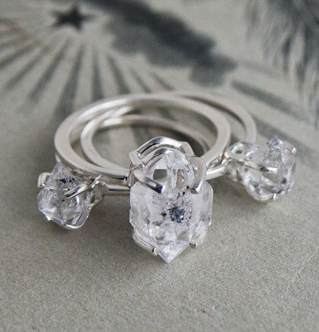 Herkimer Diamond Solitaire Rings ...... rings I thought it was one ring!... seriously would solder them together!