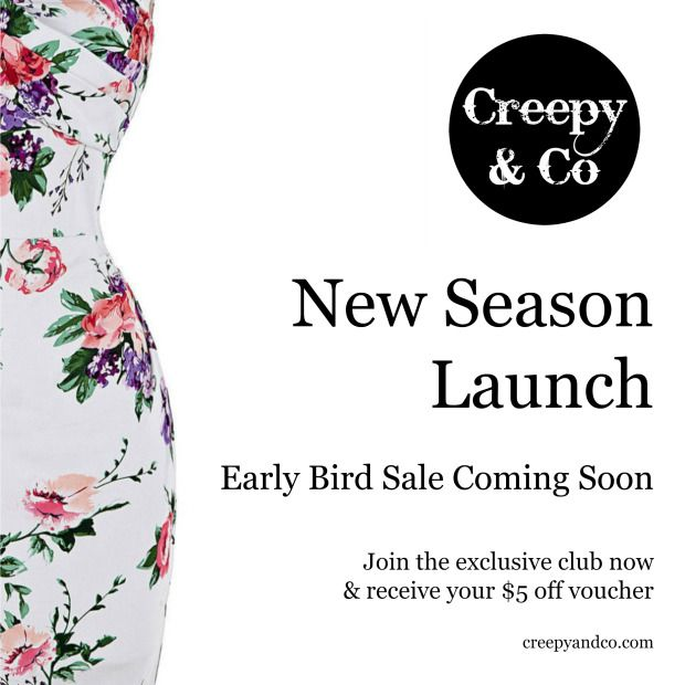 Creepy and Co Early Bird Sale coming soon.  Rockabilly, pinup dresses.  Vintage inspired dresses.
