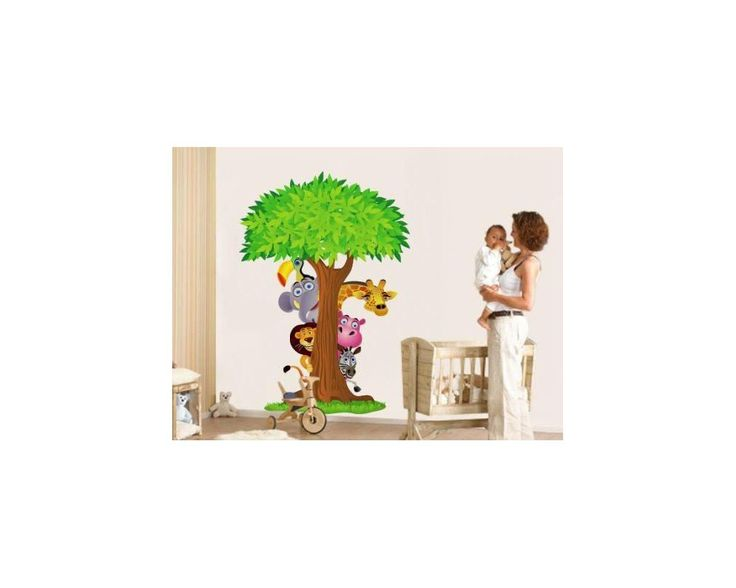 Κρυφτούλι με το δέντρο, αυτοκόλλητο τοίχου με δέντρο και ζωάκια της ζούγκλας , δειτε το!