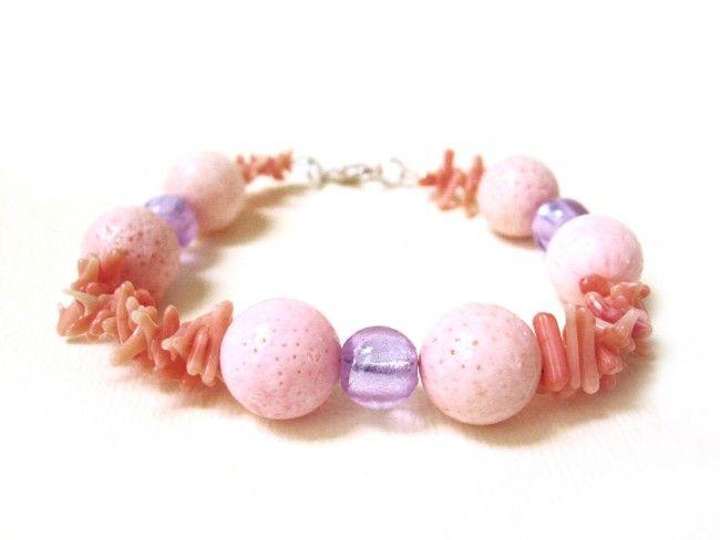 Bransoletka - szkło weneckie, koral - pink&violet multishape coral and glass beads bracelet