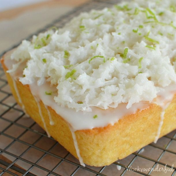 Take a break from the traditional holiday quick breads & make this Coconut Bread with Lime Glaze. Moist coconut cake topped with lime glaze & sweet coconut!