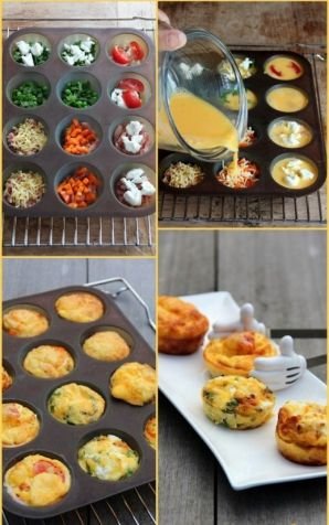 Muffin tin baked eggs are so easy and really are delicious. Be sure to grease your muffin tin well though, because they stick terribly if not