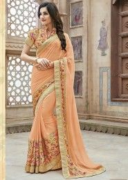Party Wear Peach Chiffon Printed Saree