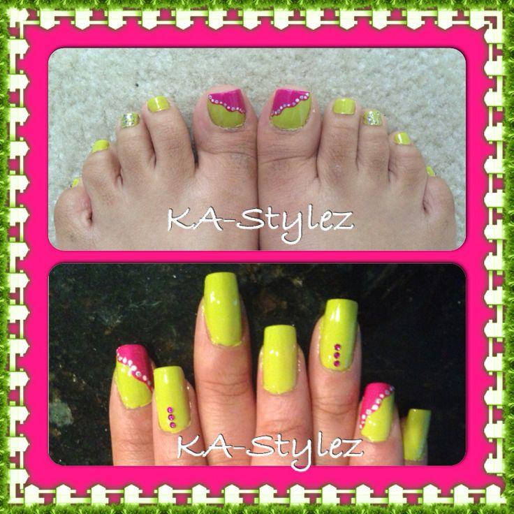 My Bright Green toe nails and toes