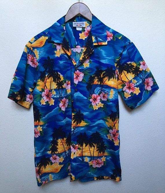3276f4c9 Vintage blue floral Hawaiian shirt, aloha shirt, retro tiki shirt, 80s  1980s palm tree print tropical floral, Pacific Legend men M medium 42