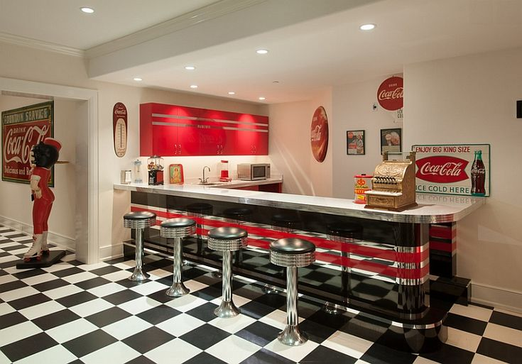 50'S Advertising Posters kitchens | Nostalgic 50s diner look for the bar area with vintage Coca cola decor ...