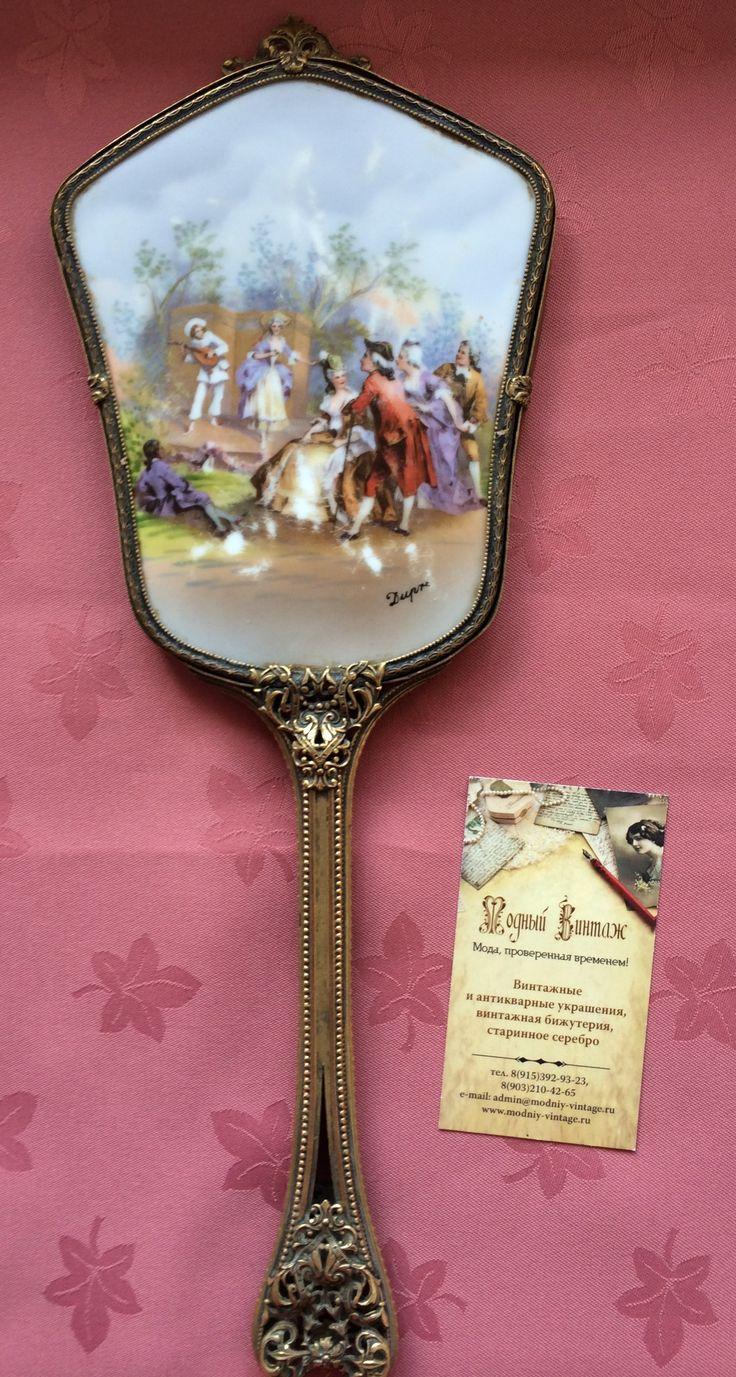Старинное зеркало с ручной росписью на фарфоре