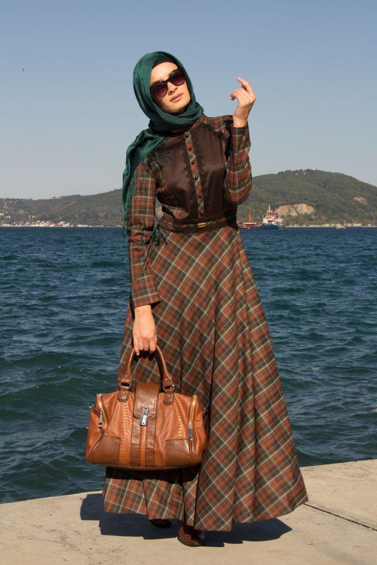 Aramiss - Kareli Kahve Elbise  Ürün Kodu:5014K Sipariş Vermek İçin Sayfamızı Ziyaret Ediniz   www.tesetturisland.com