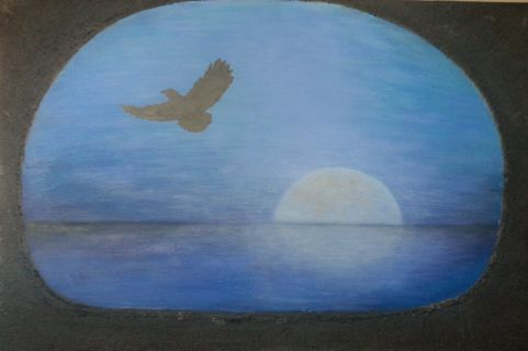 """""""Overblikk mot horisonten"""" Akryl på lerret (m/ sort struktur) - 60 x 90 cm"""