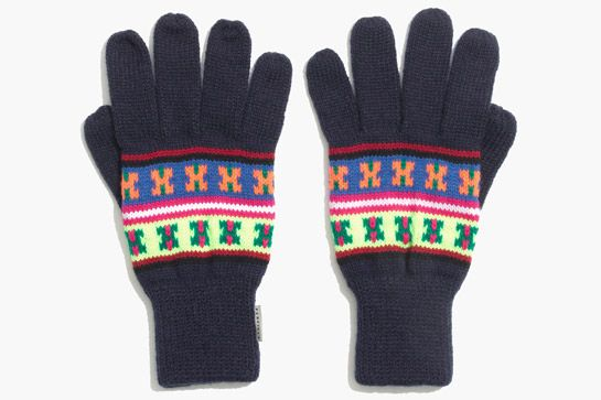 These navy gloves get cheered up with a playful neon pattern.