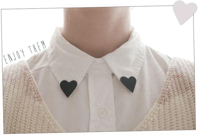 diy heart collar clips