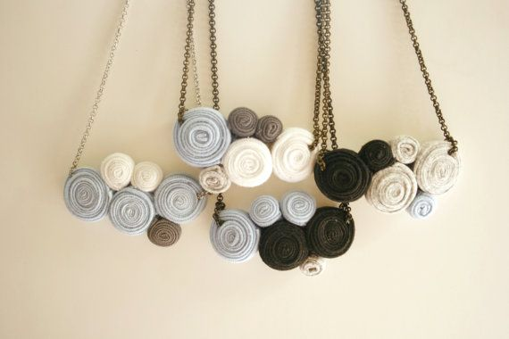 cloud fabric necklace by ganbayo on Etsy