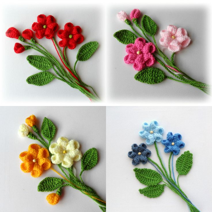 Hand Crochet Appliques Set Flowers and Leaves