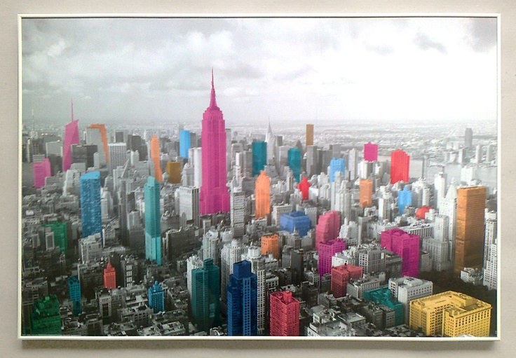 Manhattan - coloured skyline - plakat - Galeria Plakatu