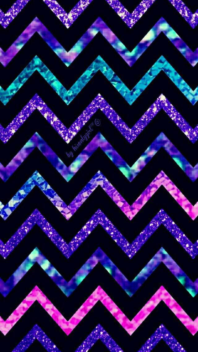 Purple, pink & blue glitter tribal chevron wallpaper I created for the app CocoPPa. #BlueGlitter
