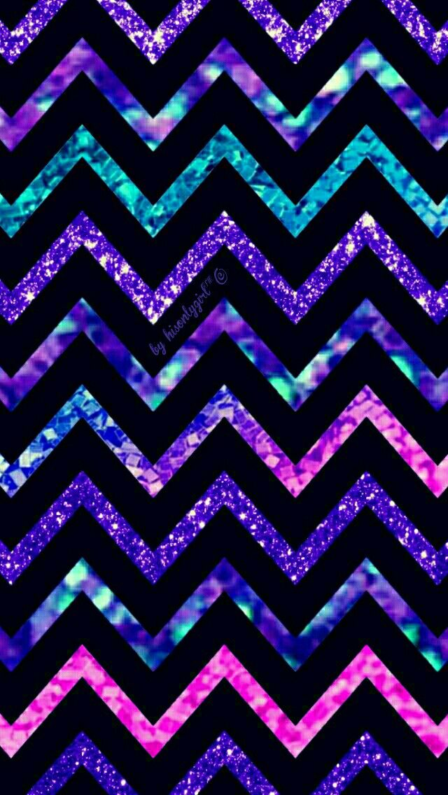 Purple, pink & blue glitter tribal chevron wallpaper I created for the app CocoPPa.