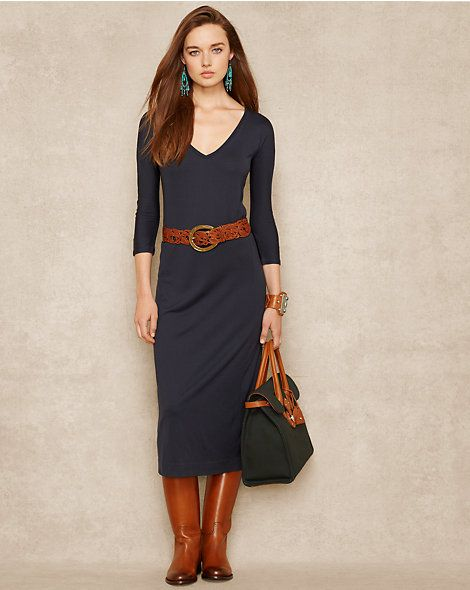 Ralph Lauren Silk-Blend V-Neck Maxidress