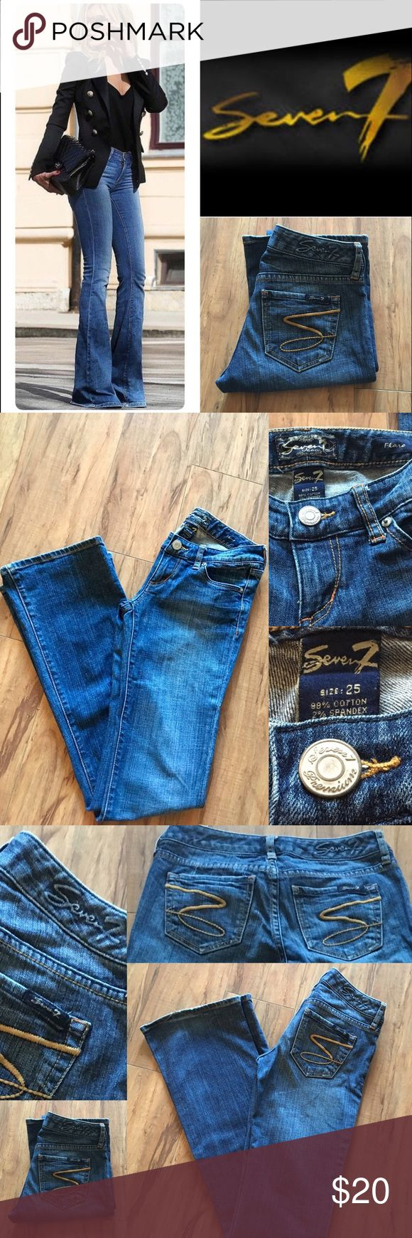 """Seven Jeans Up for Sale Seven7 Flare Jeans  Size:25 Inseam:33"""" 98%cotton 2%Spandex Were my fav. fav. Jeans, but haven't been able to fit back in them :( My loss is ur gain :)!! Seven7 Jeans Flare & Wide Leg"""