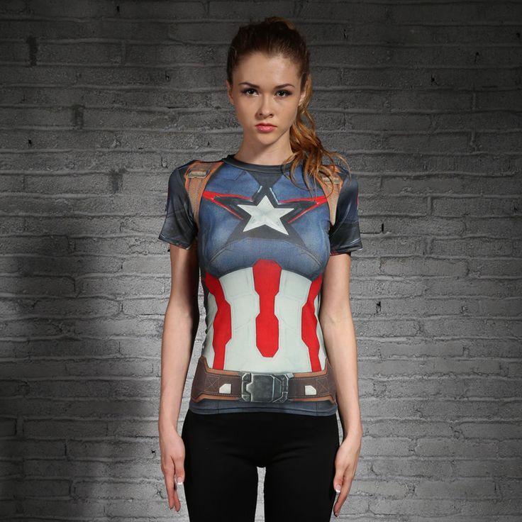 Captain America 3D Imprimé T-shirts Femmes De Compression Chemise Slim À Manches Courtes marvel Cosplay Costume Pour Dames Tops Femme