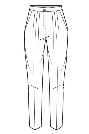 Tapered working design of high waisted tailored trousers.