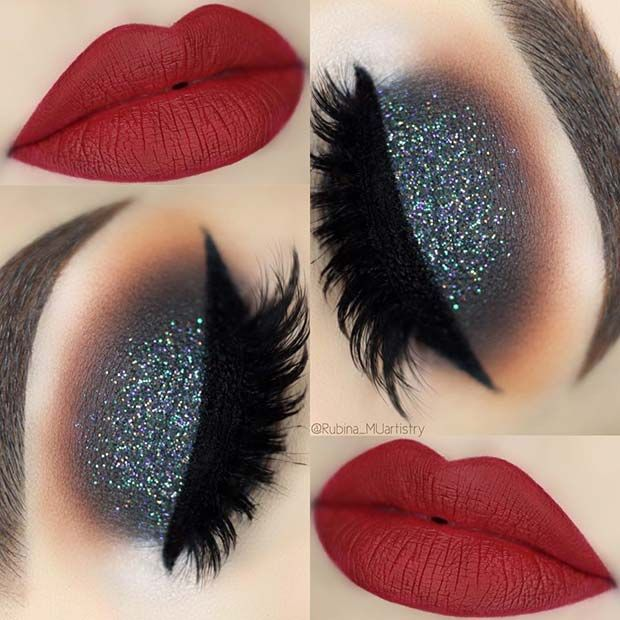 Festive, Glitter Eyes and Red Lips Eye Makeup Look