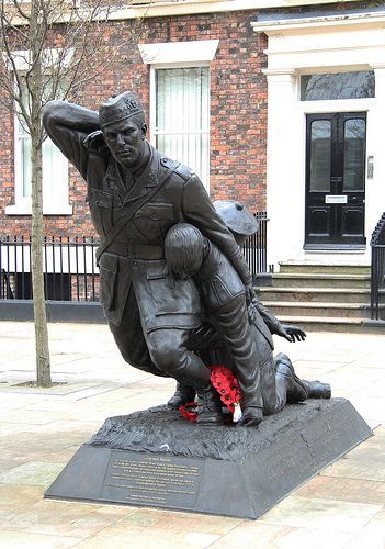 Liverpool Heroes Memorial,  in Abercromby Square, Liverpool. Commemorates Captain Noel Chavasse VC & Bar MC, the only man to be twice awarded the military's highest award for valour, the Victoria Cross in the First World War, and fifteen other Liverpool-born Victoria Cross recipients. by Brian Snelson   via Flickr