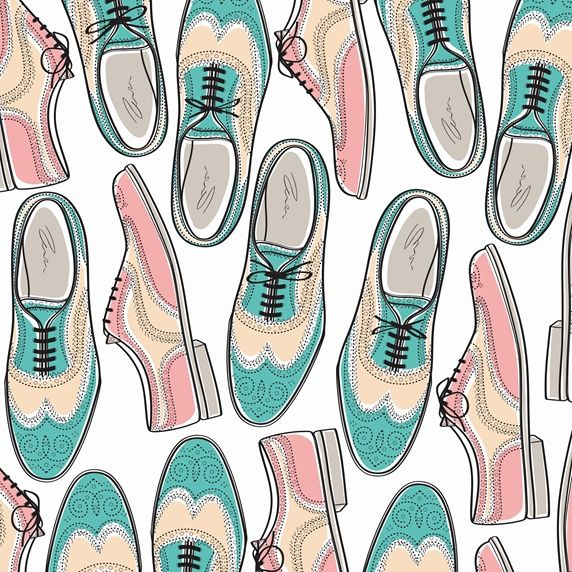 Pattern of pastel colored brogue shoes