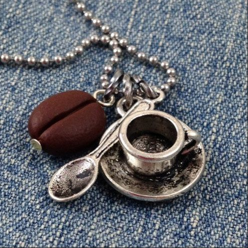 Coffee Lovers Necklace with Cup Spoon and Bean on stainless steel ball chain by DuctTapeAndDenim, $18.00  Use the coupon code PIN10 to get 10% off your entire order on www.DuctTapeAndDenim.etsy.com