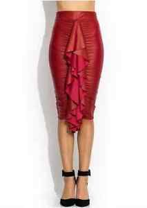 RED-Leather-Business-Career-Sexy-Lady-Party-Ruche-Into-It-Ruffled-Skirt-SMALL