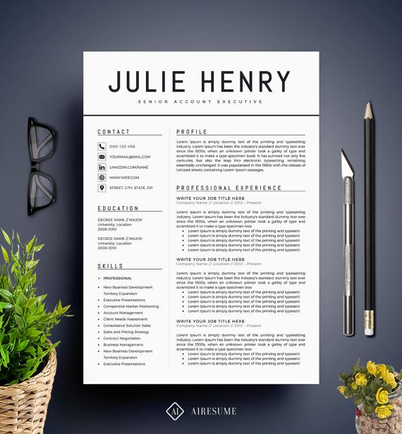 Modern Resume Template / CV Template + Cover Letter | Professional and Creative Resume | Teacher Resume | Word Resume | Instant…