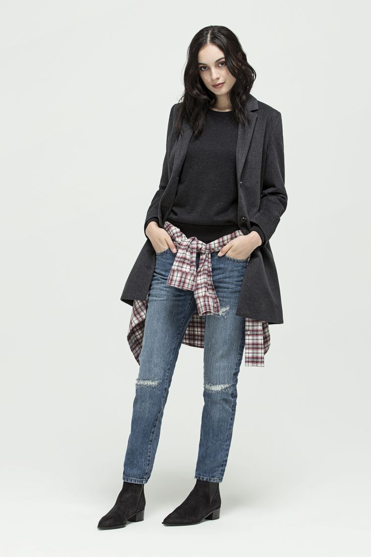 Gemma Coat (Charcoal), Kendall Sweater (Black Marle), Dakota Check Shirt (Raspberry) and W - Relaxed Skinny (Light Indigo - Vintage Repaired)