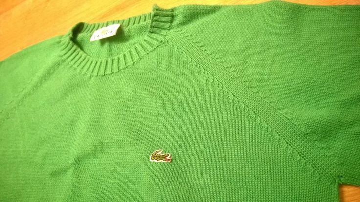 LACOSTE Kids Boys Sweater Bright Green Size 44 Cotton Crew Neck Logo Vintage #Lacoste #Jumper