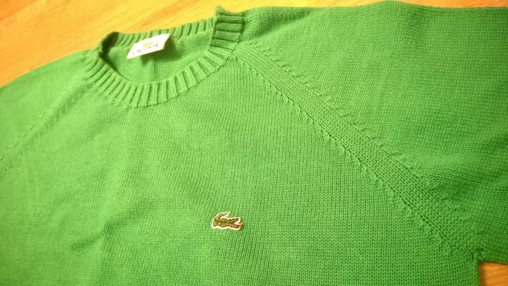 LACOSTE Kids Boys Sweater Bright Green Size 44 Cotton Crew Neck Logo Vintage #Lacoste #Jumper