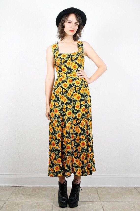 Vintage Sunflower Dress Grunge Dress 1990s by ShopTwitchVintage